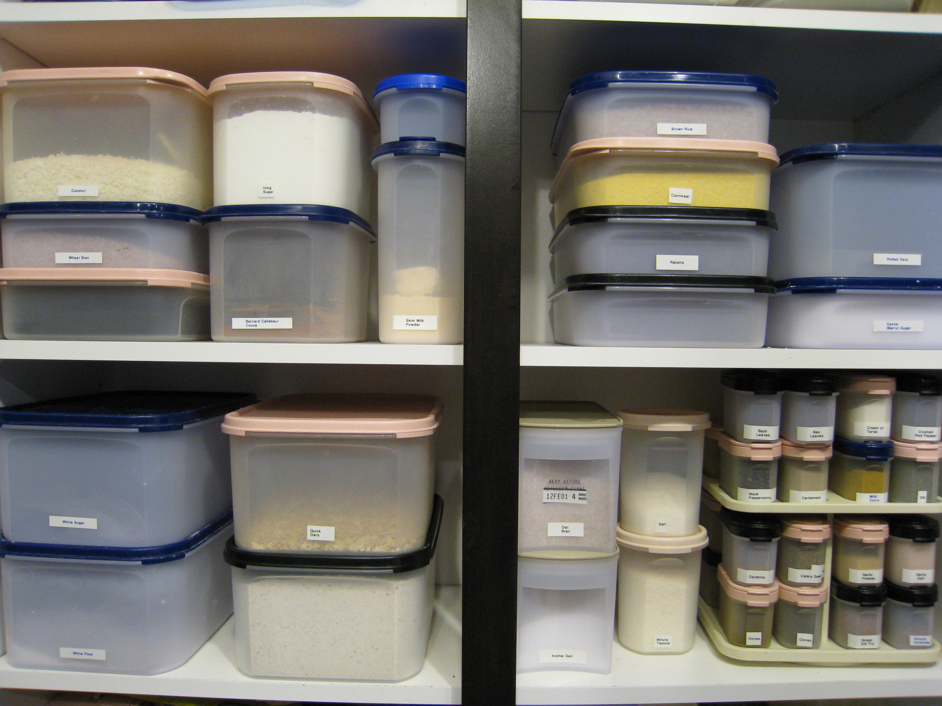 A perfectly organized closet full of tupperware